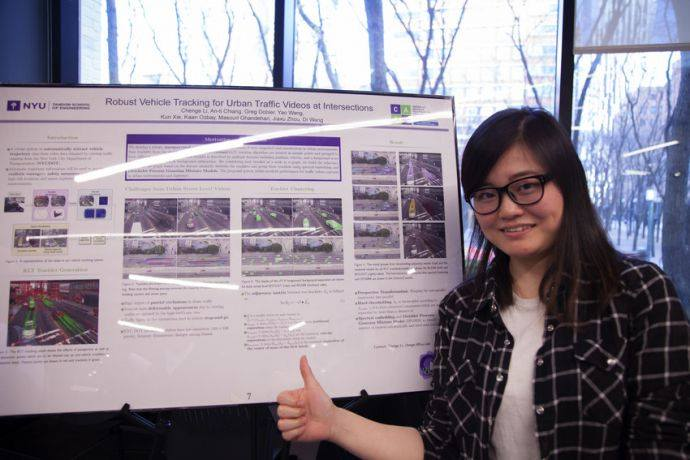 Chenge Li, Ph.D., Electrical Engineering presents her paper Robust Vehicle Tracking for Urban Traffic Videos at Intersections