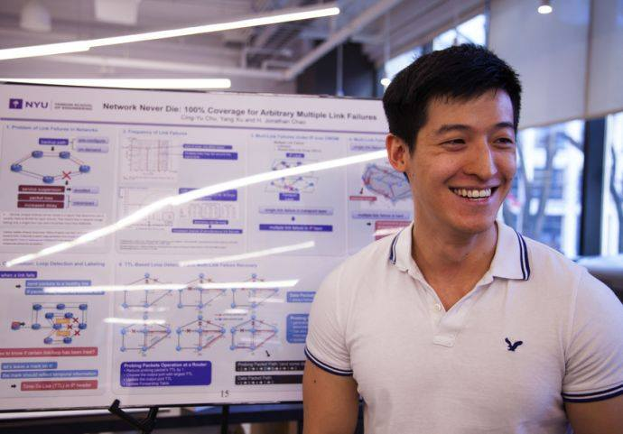 Cing-yu Chu, Ph.D., Electrical Engineering presents his poster Network Never Die 100% coverage for arbitrary multiple link failures