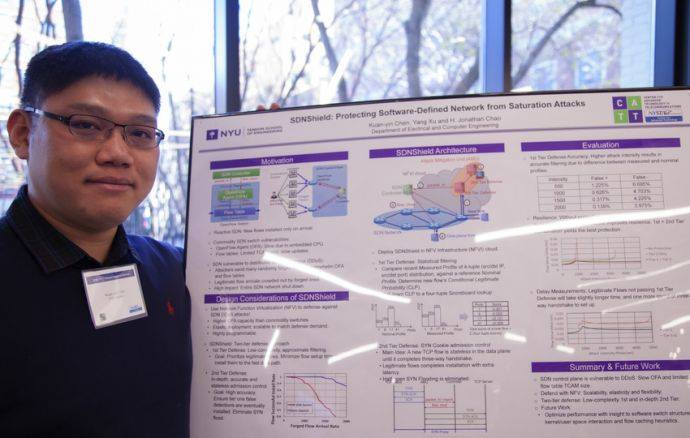Kuan-yin Chen, Ph.D., Electrical Engineering presents his paper SDNShield Protecting Software-Defined Network from Saturation Attacks
