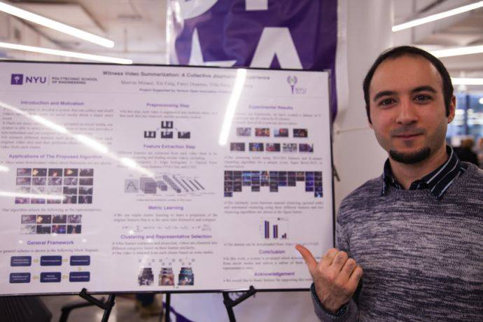 Shervin Minaee, Ph.D., Electrical Engineering presents his poster Witness Video Summarization A Collective Journalistic Experience.